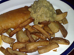 Battered haddock, chips and mushy peas at the Butterfly and Pig, Glasgow