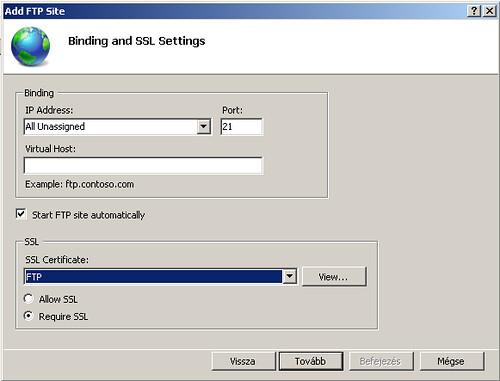 IP cím és SSL beállítások