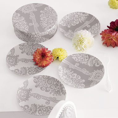 brocade home_trellis pattern leaf plate set