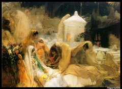Day of the Prophet at Oued el Kebir  by Frederick Arthur Bridgman. (Algeria888 ( G.Zoua )) Tags: africa woman flower look algeria eyes women child dove moorish gathering blida oriental orientalism whire orientalist wali cemetray scraft lehafe
