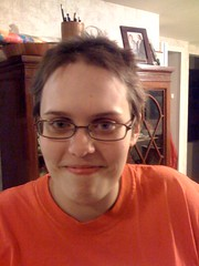 katie cuts hair on 1-2-09front