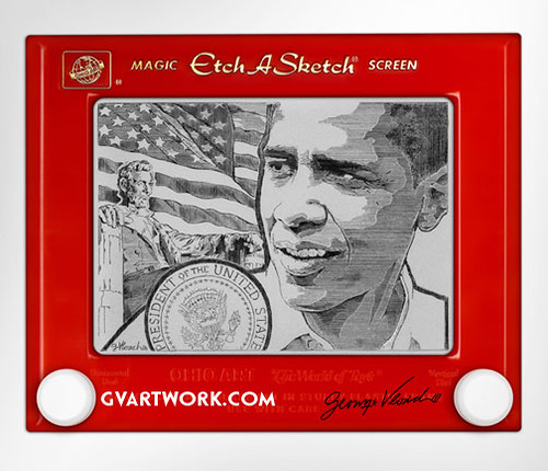 Obama Etch by George Vlosich