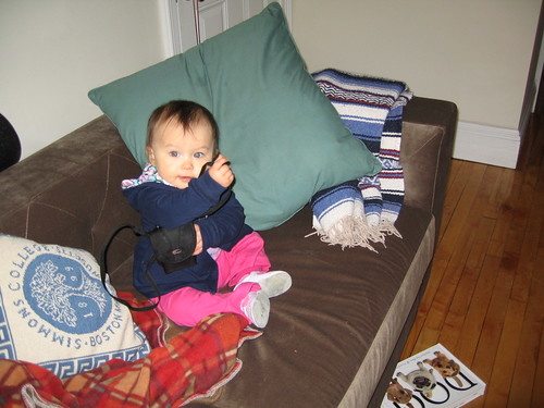 baby girl modeling new couch