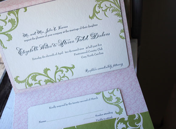 Letterpress wedding invitation pocketfold - pinks and greens - Smock