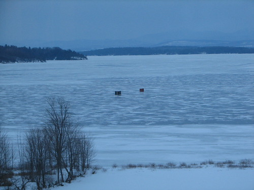 ice fishing shacks on Lake Champlain