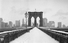 Brooklyn Bridge in the snow
