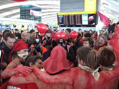 cameramen in a frenzy (Bernard Burns) Tags: london heathrow aviation protest topless flashmob heathrowairport terminal5 cameramen thirdrunway stopairportexpansion heathrowexpansion t5flashmob