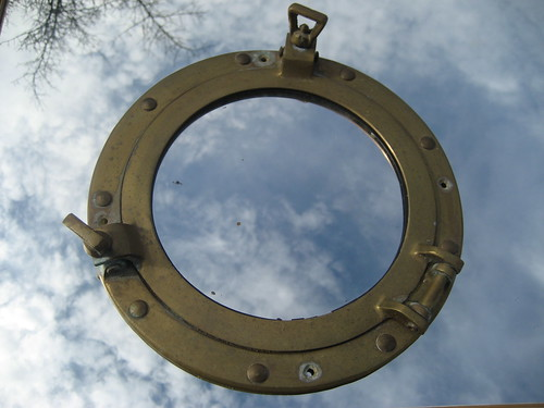 brass port hole with mirror