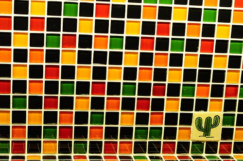 Colourful tiles at the bar counter
