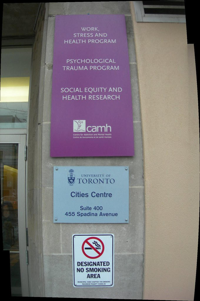 Work Stress and Health Program, Psychological Trauma Program, Social Equity and Health Research, CAMH, University of Toronto Cities Centre, Suite 400, 455 Spadina Avenue, Designated No Smoking Area, C
