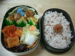 Blue monkey bento (skamegu) Tags: food japan rice egg bento japanesefood tamagoyaki         atsuage