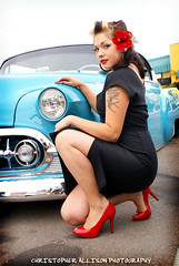 Pinup Model Viviane @ The El Cajon Classic (christopherallisonphotography.com) Tags: california red flower cars ford girl truck vintage bench lights high model eyes women classiccar doll pretty pumps sandiego sony tail elcajon lips retro gal bumper chrome heels hotrod rockabilly buckets alpha pinup desoto carshow fins a300 rockabillyboy72 christopherallisonphotography