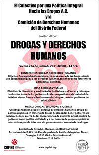 FORO DROGAS Y DERECHOS HUMANOS EN LA CDHDF ESTE VIERNES