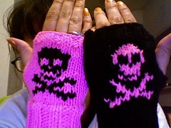 Attempt at knitting skull fingerless gloves