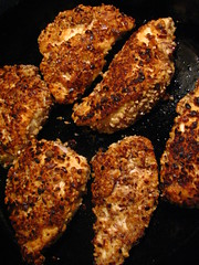 Hazelnut Crusted Chicken for Pollo en Pepitoria
