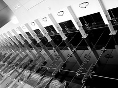 glass wall hardware (Hitchcock Creative) Tags: bw white black art glass metal wall architecture for dc washington theater theatre stage arts shakespeare center ceiling wdc lobby dcist plays drama harman pfogold