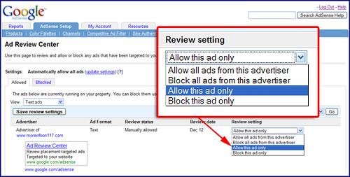 Google AdSense Ad Review Center