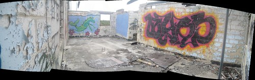 Panoramic Photo of Graffiti on Sweeney Ridge