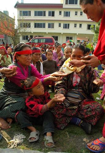 Nectar at Tharlam Monastery, Tibetan Buddhist Empowerment, Boudha, Nepal by Wonderlane