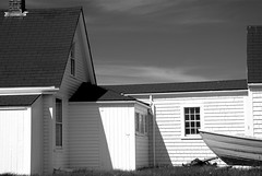 Monhegan Light and shadow (M. Waller) Tags: shadow blackandwhite lighthouse island homer wyeth hopper dory monhegan archtecture museuem