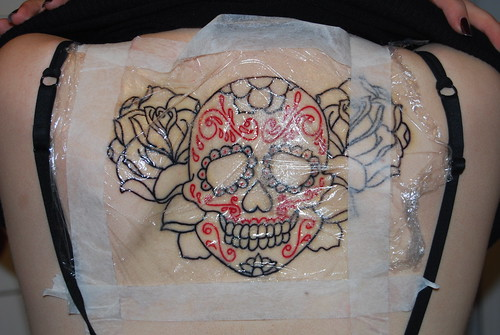 Mexican sugar skull tattoo linework