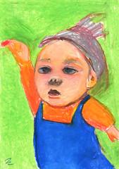 Self_June 11 (miwa's note) Tags: portrait self drawing everyday childish oilpastel craypas  peachkent