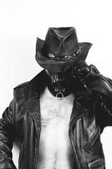 I Reckon I Oughta Say Hello There (H. A. Kirsch) Tags: blackandwhite bw dog selfportrait male hat leather fetish blackwhite cowboy mask pentax flash rubber gloves hood kink offcamera af360fgz k100d