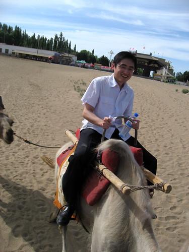 Tan on his camel
