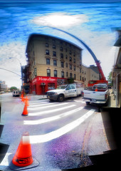 A Crane on Suffolk Street at E. Houston (p0ps Harlow) Tags: nyc ny newyork les crane manhattan pano calico iphone ehouston suffolkst p0ps