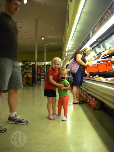 hugs in the grocery store