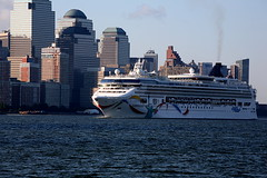Norwegian Dawn (pmarella) Tags: nyc newyorkcity sky urban usa newyork color building water skyline clouds r