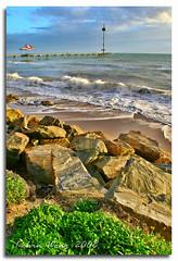 Brighton Beach (Kelvin Wong (Away)) Tags: ocean shadow sky plant green texture beach nature water sand rocks weekend jetty sunday wave could photoshopcs2 dynamicrangeincrease digitalblending canoneos400d kitlens1855mm canoneosdigitalrebelxti visiongroup canoneoskissx kelvinwong piscesromance poseidonsdance