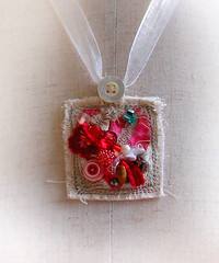 Faint Hearted Pendant full view 1000 (fancypicnic) Tags: pink red necklace beads heart buttons textile fabric ribbon etsy stitched pendant organza bocage dawanda