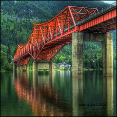 Bridge to Nelson (ecstaticist) Tags: bridge red lake canada water pain waves bc painted smooth nelson tre hdr kootenay geeen 5x supershot superaplus aplusphoto davincitouch photoexcel