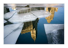 Wrigley Building reflected (benkrut) Tags: city travel chicago cold ice skyline architecture skyscraper circle frozen illinois cityscape waterfront citylife officebuilding wrigleybuilding michiganavenue chicagoriver vacations magnificentmile windycity urbanscene traveldestinations famousbuilding downtowndistrict builtstructure lptowers