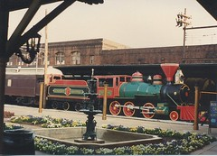 Former Smokey mountain Railroad 2-6-0 Type steam locomotive on display. The Chattanooga Choo Choo Hilton Hotel. Chattanooga Tennesee. May 1990.