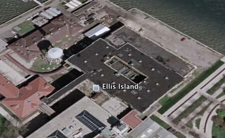 Ellis Island on the map