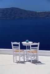 Firostefani - Santorini - Greece (Giuseppe Finocchiaro) Tags: blue sea white stairs table relax nikon stair mediterranean mediterraneo mare blu aegean santorini greece bianco cyclades cicladi firostefani egeo blueribbonwinner mywinners abigfave platinumphoto anawesomeshot