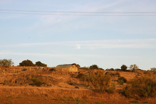 Full Moon Over Farm House
