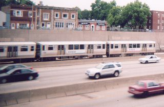Westbound Chicago Transit Authority blue line train. Oak Park Illinois. July 2006. by Eddie from Chicago