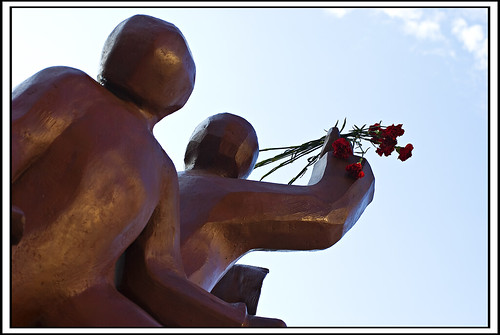 Haymarket Riot Memorial with Flowers