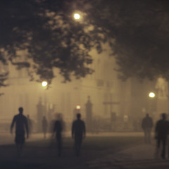 the park (smallish fish) Tags: park brussels mist festival fog sepia dark scary moody cross belgium zombie gothic goth retro creepy spooky zombies dryice gothicculture