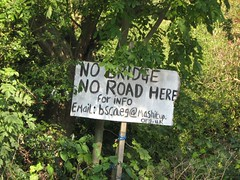 No Bridge No Road Sign