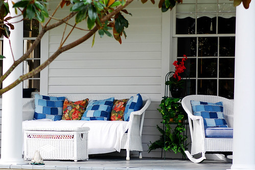 Blue Pillows on Front Porch