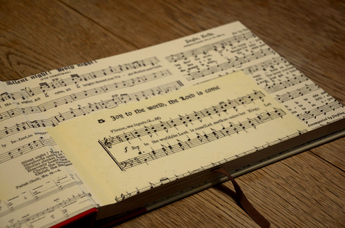 endsheets with old song sheets