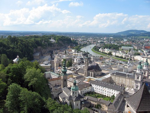View from the Salzburg over the town and Salzach