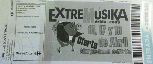 Entrada Extremúsika 2009