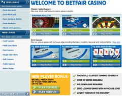 Betfair Casino Lobby