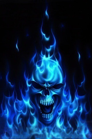 Iphone Wallpaper Flaming Blue Skull In Fire