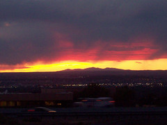 Very late sunset in New Mexico. (fatslick70) Tags: new sunset sky orange clouds mexico newmexicothunderstorms